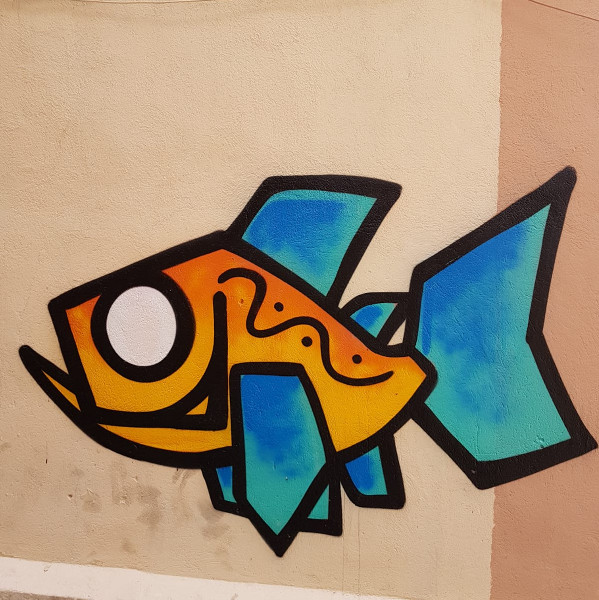 Graffiti fish in Marseille france