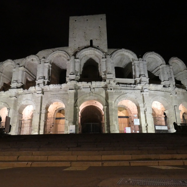The amphitheatre in Arles at night